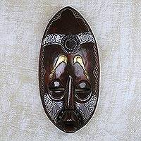 African wood mask, 'Tribal Swords' - Cultural African Sese Wood and Metal Mask from Ghana