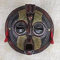 African wood mask, 'Friendly Bird' - Round African Sese Wood Brass and Aluminum Mask from Ghana