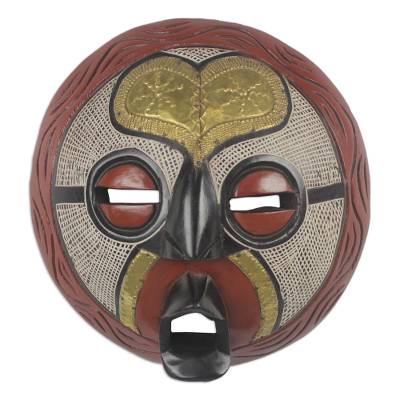 African Sese Wood Mask with Brass Heart Design from Ghana