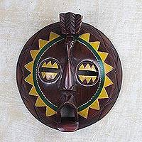 African wood mask, 'Round Sunflower Man' - African Painted Round Sese Wood Mask from Ghana