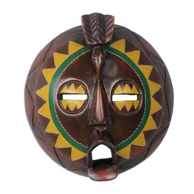 African Painted Round Sese Wood Mask from Ghana