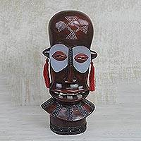African wood mask, 'Laughing Face' - Handcrafted African Sese Wood Mask on Stand from Ghana