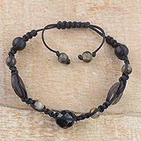 Tiger's eye and agate beaded bracelet, 'African Peace' - Handmade Tiger's Eye and Agate Beaded Bracelet from Ghana