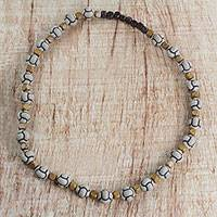 Wood beaded necklace, 'Pathfinder' - Sese Wood Long Beaded Necklace Handcrafted in Ghana
