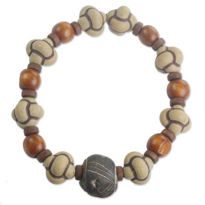 Men's terracotta and wood beaded stretch bracelet, 'Bold Adventurer' - Men's Terracotta and Wood Beaded Stretch Bracelet from Ghana