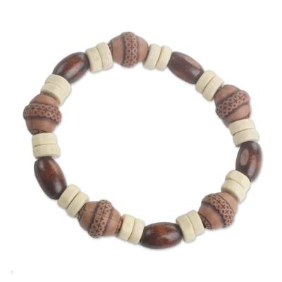 Wood and recycled plastic beaded stretch bracelet, 'Earthy Charm' - Wood and Recycled Plastic Beaded Stretch Bracelet from Ghana