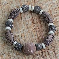 Terracotta, recycled plastic and glass beaded stretch bracelet, 'Earthy Embrace' - Terracotta, Wood and Recycled Plastic Beaded Bracelet