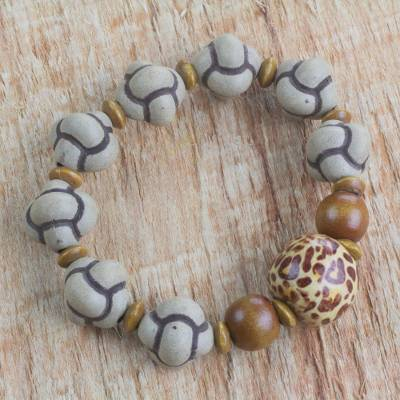 Wood Beaded Stretch Bracelet Pattern Play Hand Made Earth Tone West African