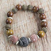 Wood, terracotta, and recycled plastic beaded stretch bracelet, 'Earth Circle' - Wood Terracotta Recycled Plastic Beaded Stretch Bracelet