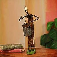 'Drummer,' sculpture - Original Recycled Metal Drummer Sculpture Made in Africa