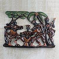 Wood relief panel, 'Drumming and Dancing' - Hand Carved Ghanaian Wood Wall Relief Panel
