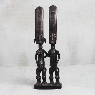 Hand-Carved Sese Wood Statuette of a Fante Couple from Ghana, 'Fante Couple'