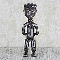 Wood fertility doll sculpture, 'Fante Belief' - Hand Carved Fante Style Fertility Doll Sculpture