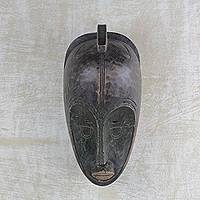 African wood mask, 'Fang Ritual' - Ghanaian Handcarved Sese Wood Fang Tribal Mask