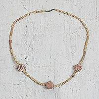 Terracotta beaded necklace, 'Terracotta Trinity' - Hand Beaded Terracotta Beaded Necklace from Ghana