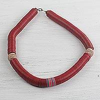 Recycled plastic and terracotta beaded necklace, 'Splendid Simplicity' - Hand Beaded Recycled Red Terracotta Bauxite Disc Necklace