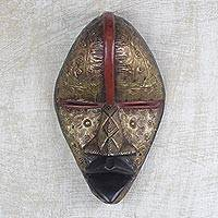 African brass plated wood mask, 'Plated Dan' - Handcrafted Dan Tribe Brass Plated Wood Mask from Ghana