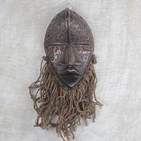 African brass and wood mask, 'Dan with Beard' - Handmade Brass Plated Wood and Jute Fiber Mask from Ghana