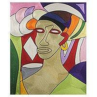 Silk thread wall art, 'The Face of a Woman' - Original Portrait of a Woman Cubist Thread Wall Art
