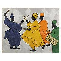 Silk thread wall art, 'The Northern Dance II' - Thread Art Composition with West African Dance Theme