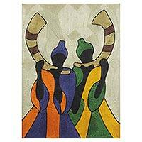 Silk thread wall art, 'The Horn Blowers' - Silk Thread Wall Art with African Music Theme