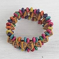 Wood and recycled plastic beaded stretch bracelet, 'Delightful Day' - Wood and Recycled Plastic Beaded Stretch Bracelet from Ghana