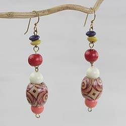Wood and recycled plastic beaded dangle earrings, 'Joyful Blessings' - Wood and Recycled Plastic Beaded Dangle Earrings from Ghana