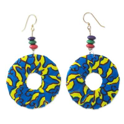 Blue and Yellow Cotton Hoop Dangle Earrings from West Africa