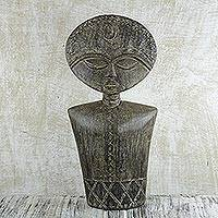 Wood sculpture, 'Ashanti Fertility' - Hand Carved Fertility Doll Sculpture with Embossed Metal