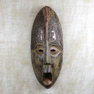 African wood and aluminum mask, 'Vigor' - Hand Carved West African Wood and Aluminum Wall Mask
