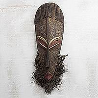 African wood mask, 'Old One' - Wood Mask with Jute Beard from African Artisan