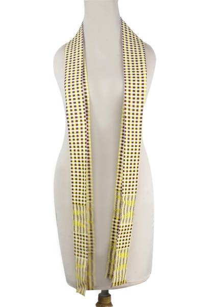Cotton blend kente scarf, 'Shore Pebbles' - Cotton Blend Kente Scarf in Canary and Aubergine from Ghana