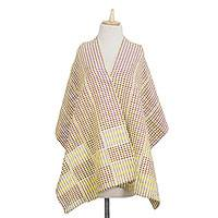 Cotton blend kente shawl, 'Shore Pebbles' - Cotton Blend Kente Shawl in Canary and Aubergine from Ghana