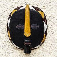 African wood mask, 'Nsuruma' - Hand Carved and Painted Round African Wood Mask