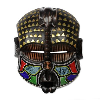 African beaded wood mask, 'Akyiglinyi' - Elephant Themed Wood Mask with Brass and Glass Beads