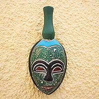 African wood mask, 'A Person of Dignity' - Blue and Green Handmade African Wood Mask