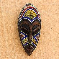 African beaded wood mask, 'Domeabra' - Colorful African Mask with Recycled Glass Beads