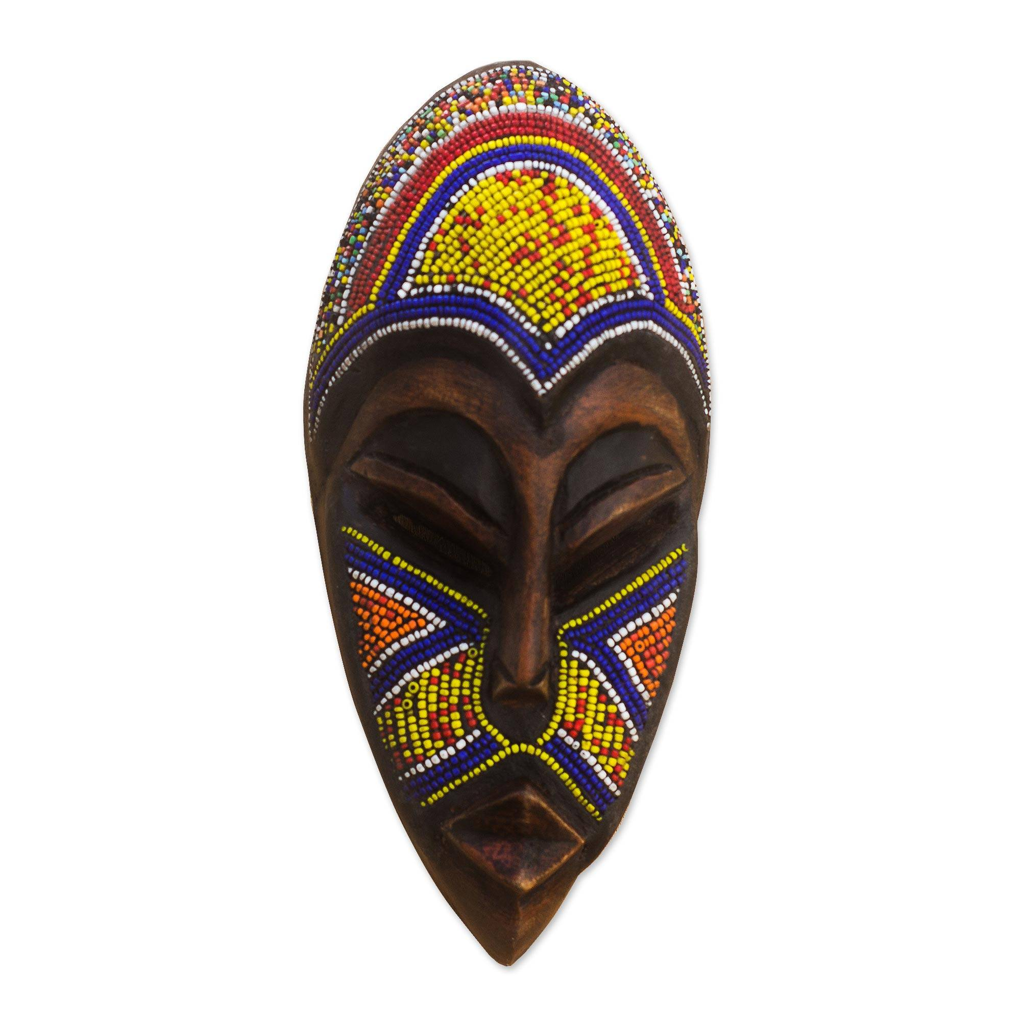 Colorful African Mask With Recycled Glass