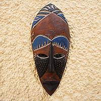 African wood mask, 'Rise and Conquer' - African Wood Wall Mask with Embossed Aluminum