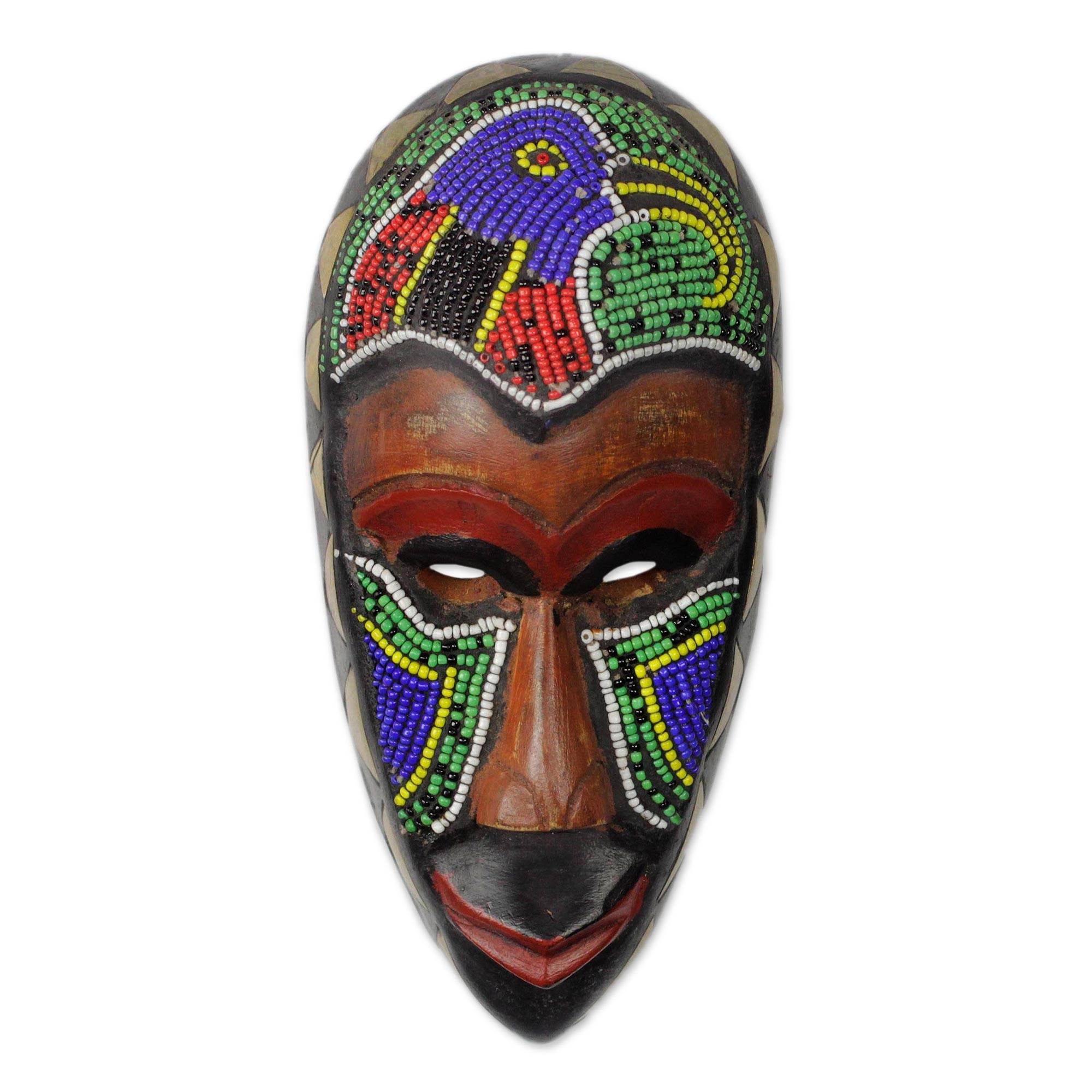 Unicef Uk Market Beaded Wood African Mask With Bird Motif Serie