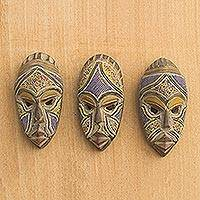 African beaded wood masks, 'Wise Counsel' (set of 3) - Artisan Crafted Small Wood Masks with Glass Beads (Set of 3)