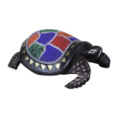 Beaded wood sculpture, 'Queen Turtle' - Colorful Beaded Turtle Sculpture Handmade in Ghana