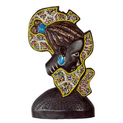 Beaded wood sculpture, 'African Mama' - Beaded African Wood Sculpture of African Continent