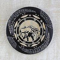 Decorative wood plate, 'Animal Kingdom' - Decorative Plate with African Animal Motifs from Ghana