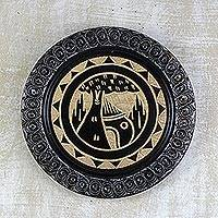 Decorative wood plate, 'African Village' - Aluminum and Wood Decorative African Plate