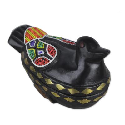 Hand Crafted Wood Decorative Duck Keepsake Box from Ghana