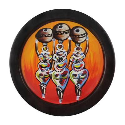 Decorative wood plate, 'Three Women' - Wood Decorative Plate Painted with African Women