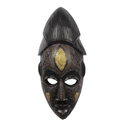African wood mask, 'Odwira' - Hand Carved African Wood Odwira Festival Mask