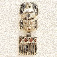 Wood mask, 'Comb Majesty' - Hand-Carved Sese Wood African Mask and Comb Wall Art