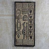 Wood wall art, 'Dogon Luck' - Hand Carved Wood Dogon Style Door Wall Art